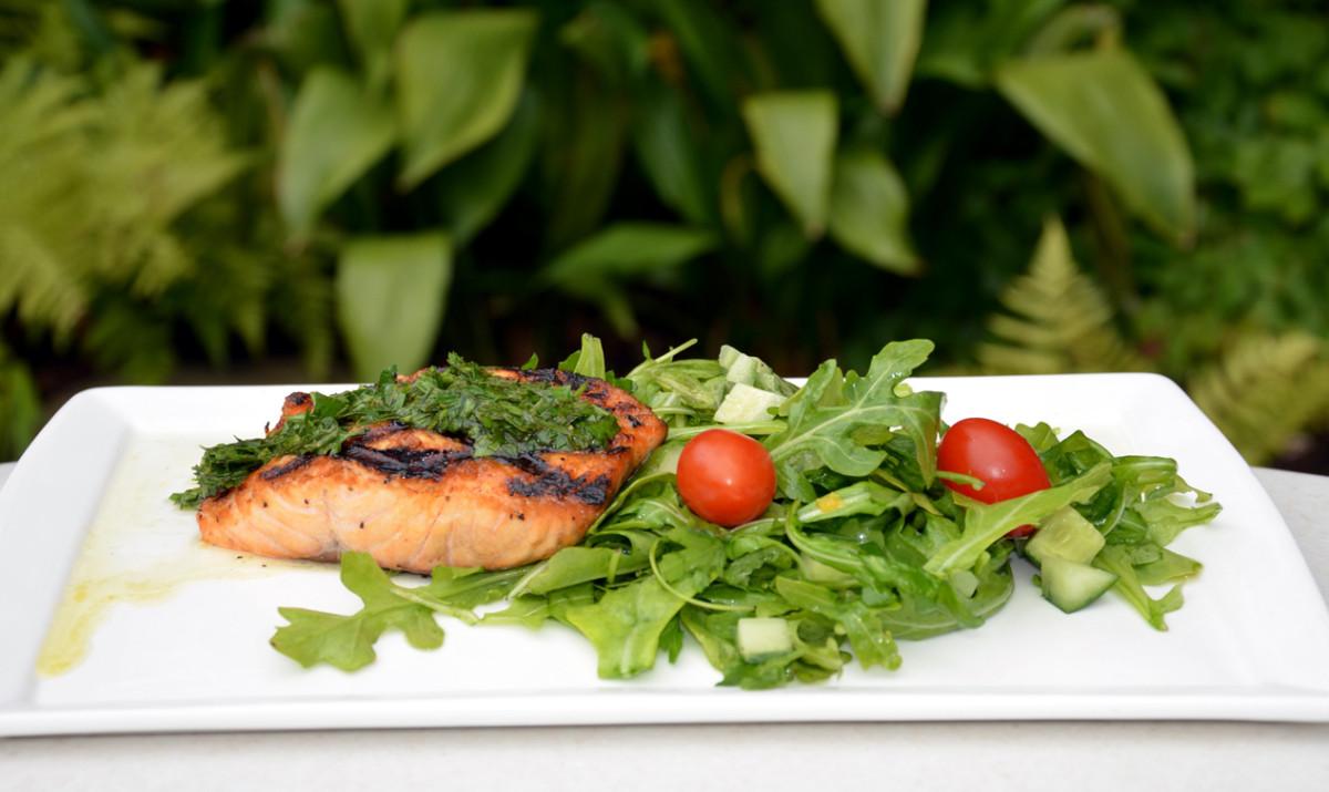 Grilled Salmon with Arugula Salad Recipe