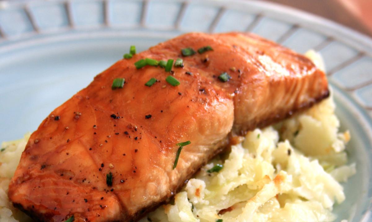 Molasses Butter Salmon Steaks