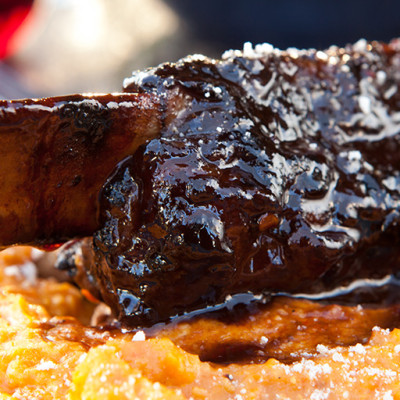 Balsamic Glazed Beef Short Ribs Over Creamy Polenta