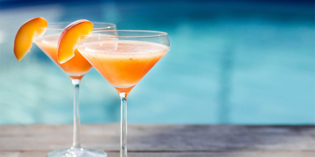 Bourbon Peach Bellini Cocktail